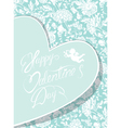 flowers blue card heart 380 vector image vector image