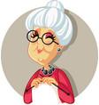 funny cartoon granny knitting vector image