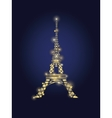 Glowing Golden Eiffel Tower in Paris vector image