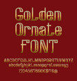 golden ornate font isolated capital and lowercase vector image