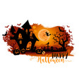 halloween night background with a moon haunted vector image