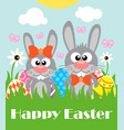 happy easter background card with two funny vector image vector image
