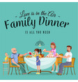 happy family eating dinner at home people eat vector image vector image