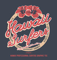 Hawaii surfers grunge effect on separate layer vector image vector image