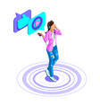 isometric girl listens to music watches video vector image