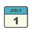 july 1st date on a single day calendar