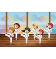 Kids practicing karate vector image
