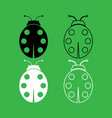 ladybird icon black and white color set vector image