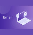 laptop with envelope and document on screen vector image vector image
