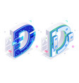 letters d with social networks elements vector image