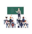 male math teacher explaining addition to vector image