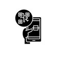 mobile startup black icon sign on isolated vector image