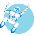 modern robot isolated on blue background vector image