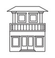monochrome silhouette of house with two floors and vector image vector image