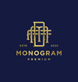 monogram business golden logo template vector image vector image