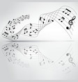 musical chord flowing and reflection on background vector image vector image