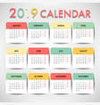 pastel color calendar for 2019 template design vector image vector image