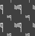 racing flag icon sign Seamless pattern on a gray vector image