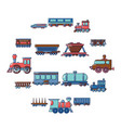 railway carriage icons set cartoon style vector image vector image