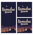 ramadan kareem lettering with minarets crescent vector image