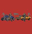 retro custom cars repair service composition vector image vector image