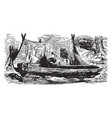 robinson crusoe making the boat vintage vector image vector image
