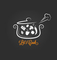 saucepan with food ingredients cooking logo on vector image vector image