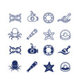 sea ocean nautical thin line and silhouette icons vector image vector image