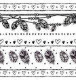 seamless border with feathers and crystals vector image vector image