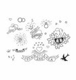 set hand drawn traditional tattoo elements vector image