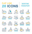 set line icons maritime transport vector image