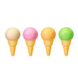 set of ice cream in waffle cones realistic vector image vector image