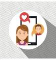 smartphone woman speak friend vector image