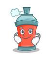 smirking aerosol spray can character cartoon vector image vector image