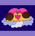 snails in love on the background of the heart vector image