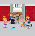 student cleaning school hallway vector image vector image