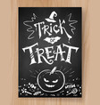 trick or treat halloween postcard vector image vector image