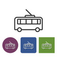 trolleybus line icon in different variants vector image vector image