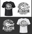 tshirt print with alligator sport team mascot vector image vector image