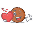 with heart chocolate biscuit mascot cartoon vector image vector image