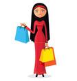 young arab muslim woman shopping flat cartoon vector image