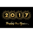 New Year 2017 gold design with fireworks vector image