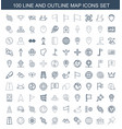 100 map icons vector image vector image