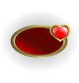 a frame of gold color with a red heart vector image vector image