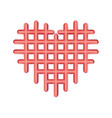 abstract perforated red heart icon plastic love vector image vector image