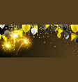banner with flags balloons and fireworks vector image vector image