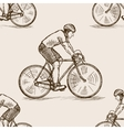 Bicycle racer sketch seamless pattern vector image