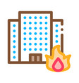 burning building house icon outline vector image