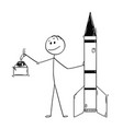 cartoon of politician leaning on missile and vector image vector image