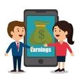 cartoon smartphone money earnings design isolated vector image